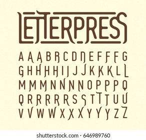 Letterpress printing style typeface with special characters vector illustration