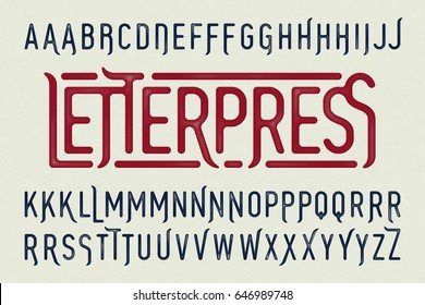 Letterpress printing style vintage typeface with special characters, vector illustration