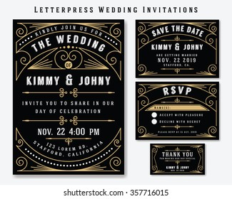 Letterpress Wedding Invitation Design Template. Include RSVP card, Save the date card, thank you tags. Classic Premium Vintage Style Frame Vector illustration.