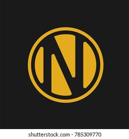 letterr N logo with gold color and circle