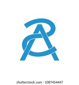 letters 2A linked lines monogram design logo