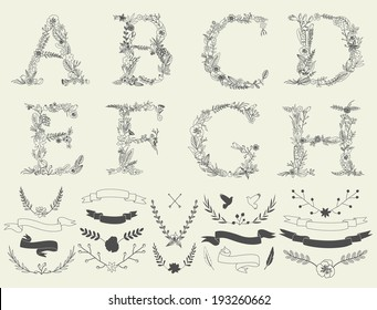 Letters A, B, C, D, E, F, G, H. Floral elements of vintage alphabet in vector