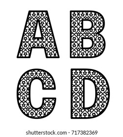Letters A, B, C, D for laser cutting. Initial monogram letters. Alphabet characters. Decorative paper font template. Vector numeric date for wedding invitation and birthday card.