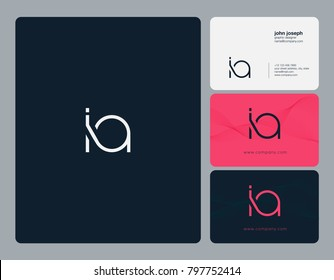 Letters I A, I&A joint logo icon with business card vector template.