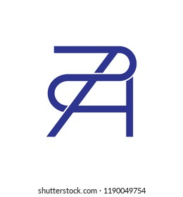 letters a2 linked lines logo vector