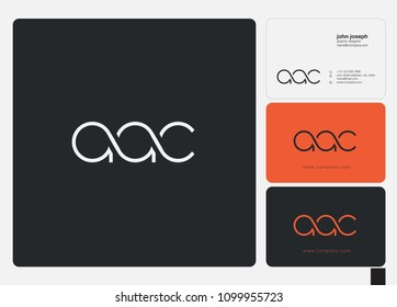 Letters AAC, A A C logo icon with business card vector template.