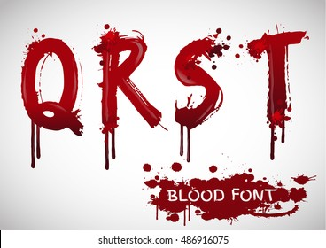 Letters of the alphabet in bloody font style, ed splash blood letter set