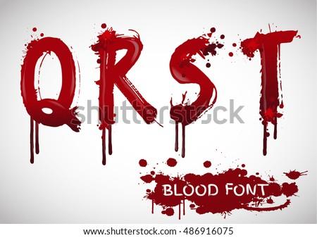 Letters Alphabet Bloody Font Style Ed Stock Vektorgrafik Lizenzfrei