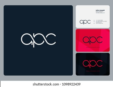 Letters APC, A P C logo icon with business card vector template.