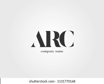 Letters ARC, A R C logo icon with business card vector template.