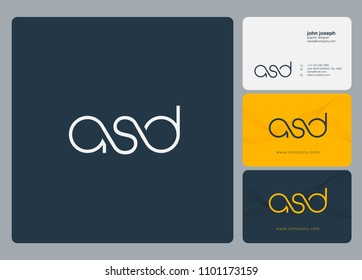 Letters ASD logo icon with business card vector template.