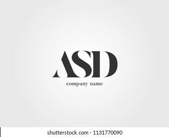 Letters ASD, A S D logo icon with business card vector template.