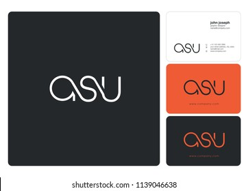 Letters ASU Joint logo icon with business card vector template.