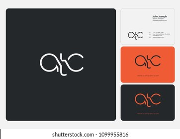 Letters ATC, A T C logo icon with business card vector template.