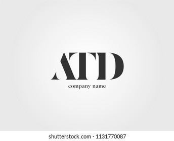 Letters ATD, A T D logo icon with business card vector template.
