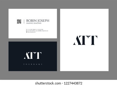 Letters ATT joint logo icon with business card vector template.