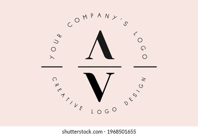 Letters AV A V Logo set as a stamp or personal signature. Simple AV Icon with Circular Name Pattern. Creative Vector Illustration with letters A and V.