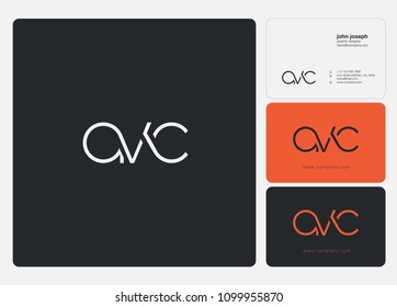 Letters AVC, A V C logo icon with business card vector template.
