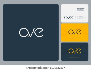Letters AVE, A V E logo icon with business card vector template.