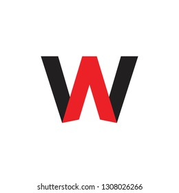 letters aw simple geometric logo vector