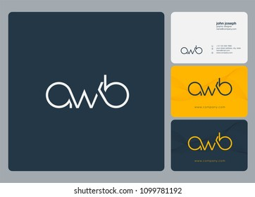letters awb a w b logo icon with business card vector template