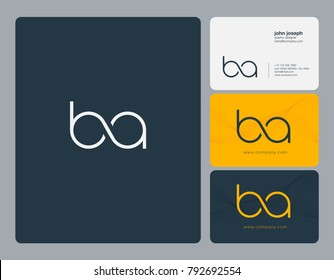Letters B A, B&A joint logo icon with business card vector template.