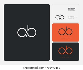 Letters A B, A&B joint logo icon with business card vector template.