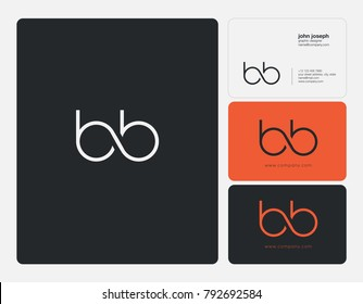 Letters B B, B&B joint logo icon with business card vector template.