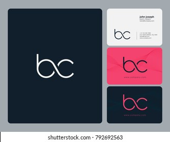 Letters B C, B&C joint logo icon with business card vector template.
