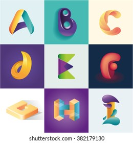 Letters A B C D E F G H I set of logo idea realistic