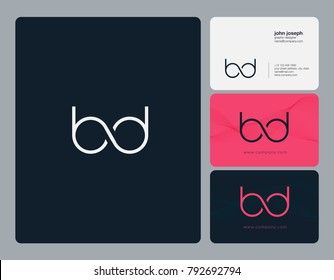Letters B D, B&D joint logo icon with business card vector template.