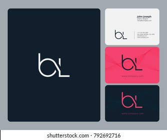 Letters B L, B&L joint logo icon with business card vector template.