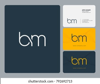 Letters B M, B&M joint logo icon with business card vector template.