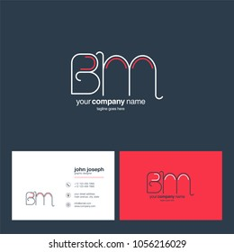 Letters B & M joint logo icon with business card vector template.