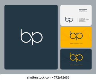 Letters B P, B&P joint logo icon with business card vector template.