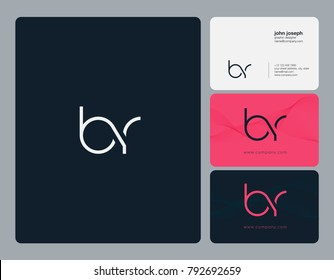 Letters B R, B&R joint logo icon with business card vector template.