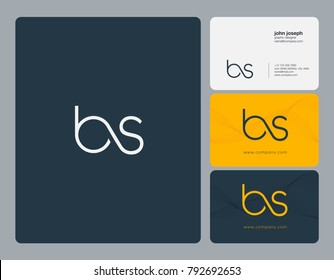 Letters B S, B&S joint logo icon with business card vector template.