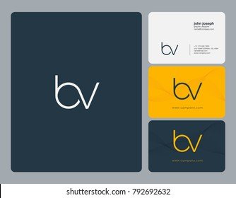 Letters B V, B&V joint logo icon with business card vector template.