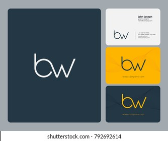 Letters B W, B&W joint logo icon with business card vector template.