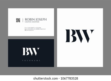 Letters B W, B & W joint logo icon with business card vector template.