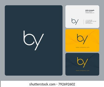Letters B Y, B&Y joint logo icon with business card vector template.
