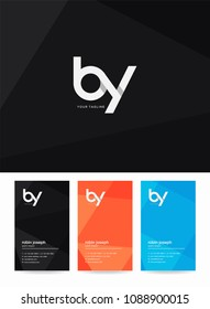 Letters B & Y logo, emblem or icon with business card vector template.