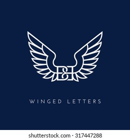 Letters BB with wings. Template for logo, label, emblem, sign, stamp. Vector illustration.