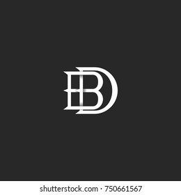 letters BD logo monogram, hipster mark for wedding invitation, overlapping linked letters B and D, DB initials for business card