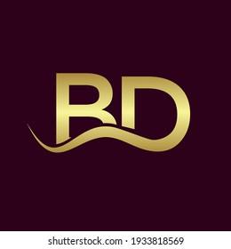 the letters BD. Vector logo monogram alphabet design in gold color