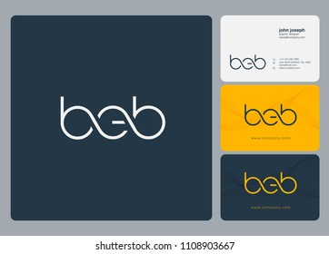 Letters BEB logo icon with business card vector template.