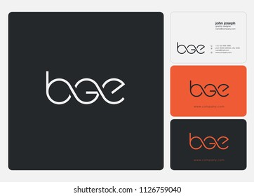 Letters BGE logo icon with business card vector template.