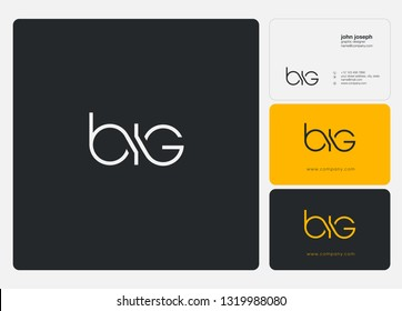 Letters BIG, B I G logo icon with business card vector template.
