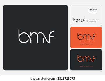Letters BMF, B M F logo icon with business card vector template.