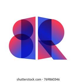 Letters BR. Logo, icon, mark, symbol concept. Vector illustration on white background.